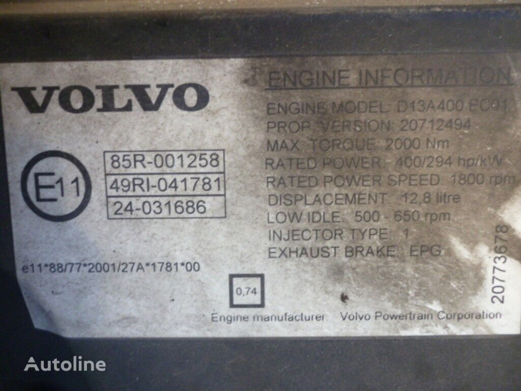 Volvo D13A400 EC01 motor para VOLVO camião