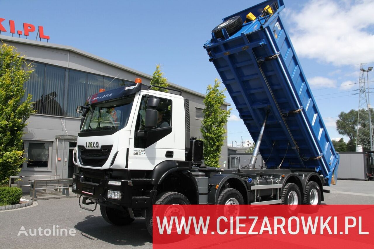 camião basculante IVECO Trakker 450 , E6 , 8x8 , 3-side tipper , retarder