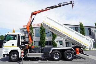 camião basculante MAN TGS 26.360 , E5 , 6X4 ,3 way tipper , bordmatic , Crane Fassi F1