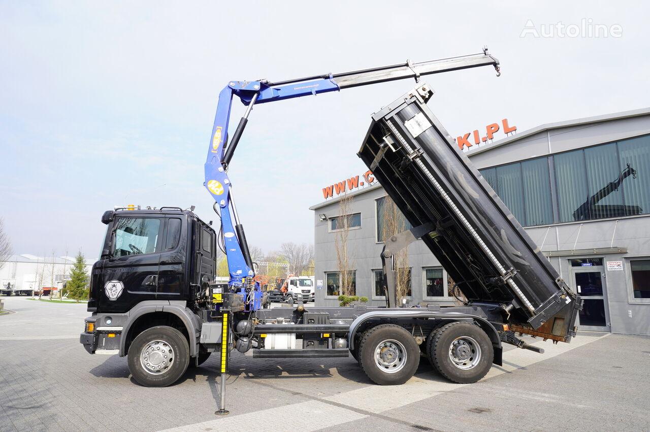 camião basculante SCANIA G360 , E5 , 6x4 , 90.000km , 2way tipper , crane PM , bordmatic