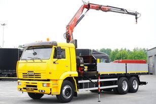 camião de caixa aberta KAMAZ 65117 , 6x4 , Crane Fassi 95 , rotator , box 6m