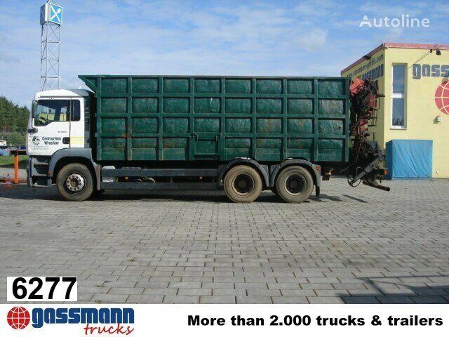 camião de caixa aberta MAN TGA 26.413 mit Kran Jonsered 1020 Tempomat