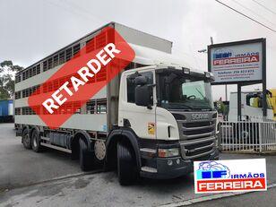 camião de transporte de gado SCANIA P 420cv 8x2 trans. De gado 2012 retarder