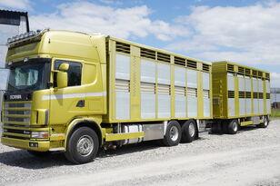 camião de transporte de gado SCANIA R164 V8 , 6x2 , 2 hydraulic decks , 70m2 , live stock + reboque transporte animais