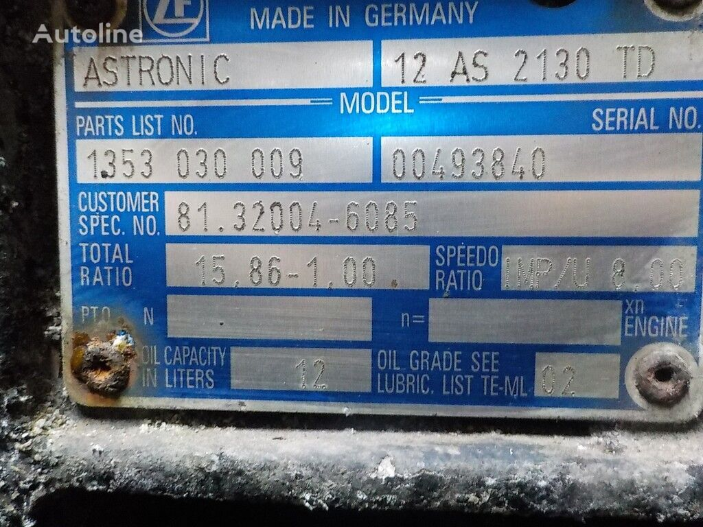 ZF 12AS2130TD caixa de velocidades para camião