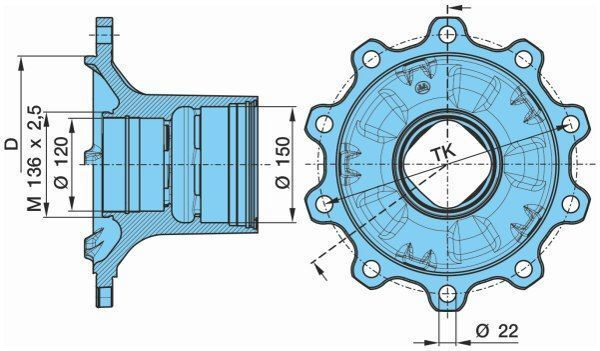 BPW KURTSAN 0327243140. 0980106580 cubo de roda para KRONE bpw semi-reboque novo