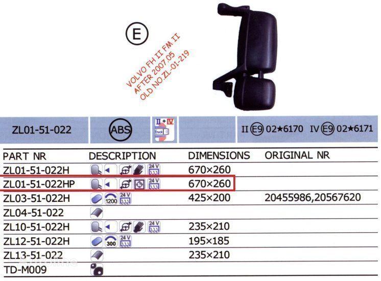 VOLVO 20567637,20567647 espelho retrovisor para VOLVO FH camião novo